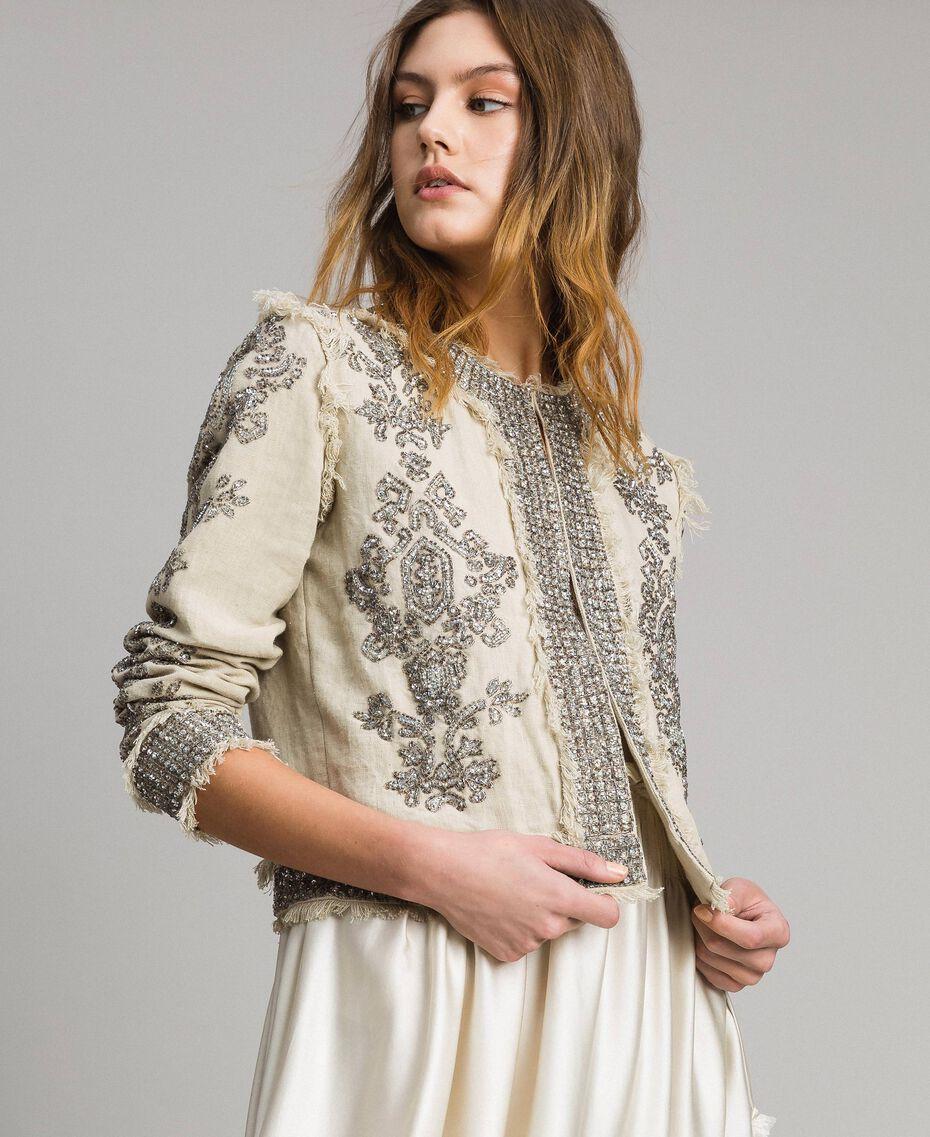 """Veste en lin ornée de perles et de sequins Beige """"Sable"""" Femme 191TT2060-02"""