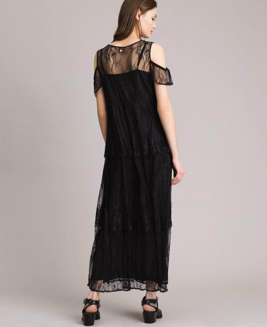 Flounced long Chantilly lace dress Black Woman 191ST2123-03