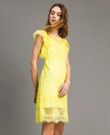 Chantilly-Kleid mit Spitze und Gürtel Schwarz Frau 191ST2121-03