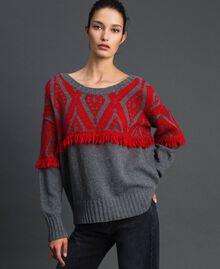 Jacquard maxi jumper with ethnic motif Ethnic Melange Grey / Pomegranate Jacquard Woman 192TP3042-01