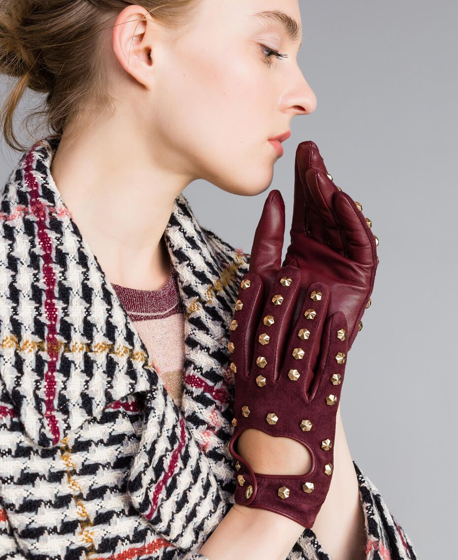 Leather and suede gloves Bordeaux Woman AA8P3D-0S