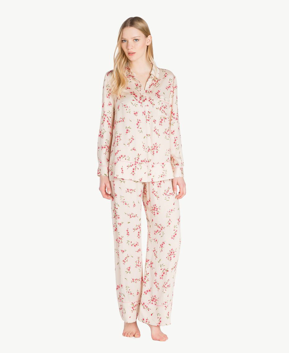 "Satin pyjamas ""Peach Powder"" Pink Microflower Print Woman LS8BFF-02"