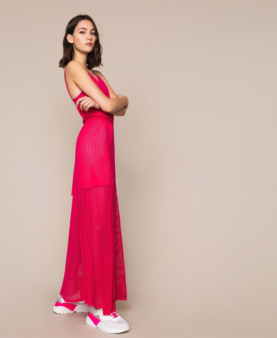 Robe longue en maille point filet Rose Sauvage Femme 201MT3010-02