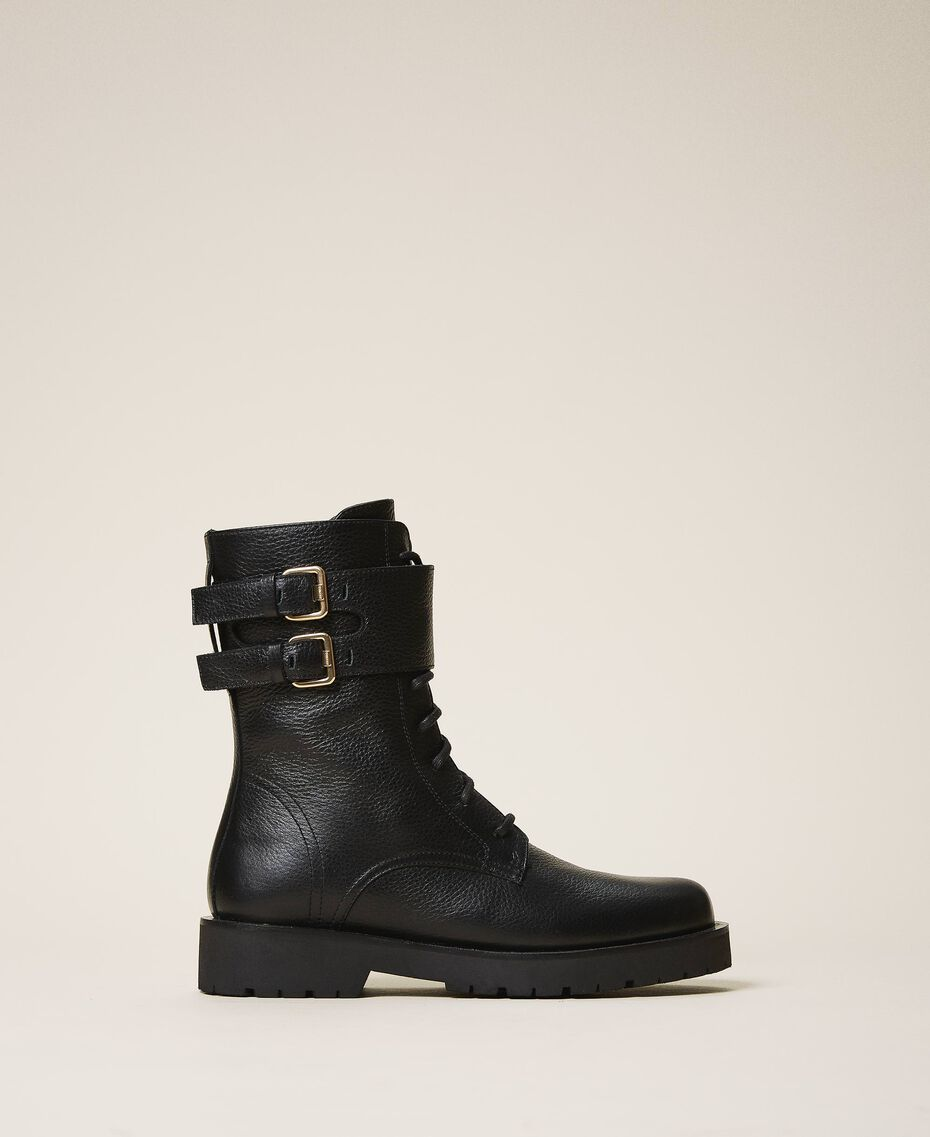 Combat boots with double buckle Black Woman 202TCT112-03