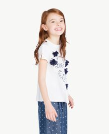 "T-shirt ricamo Bicolor Bianco ""Papers"" / Blu Oceano Bambina GS82JD-03"