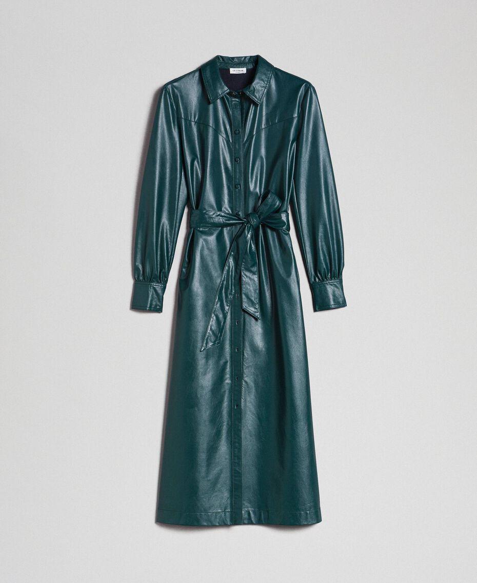 Robe chemisier longue en similicuir Noir Femme 192ST2010-0S
