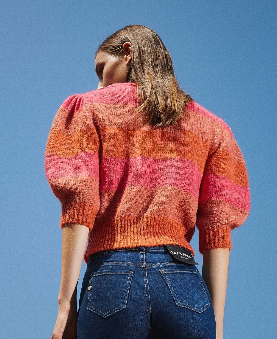 Pull en mohair mélangé rayé Multicolore Gerbera / Tawny Orange / Rose Brillant Femme 202MT3160-02