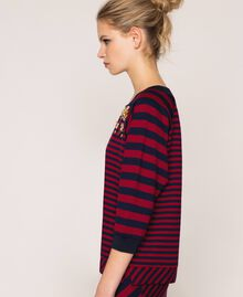 Striped sweatshirt with sequin embroidery Crimson Red/ Midnight Blue Stripes Woman 201ST2190-02