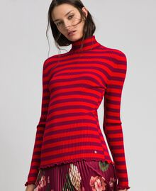 Turtleneck jumper with two-tone stripes Beet Red / Pomegranate Stripe Woman 192TP3090-04