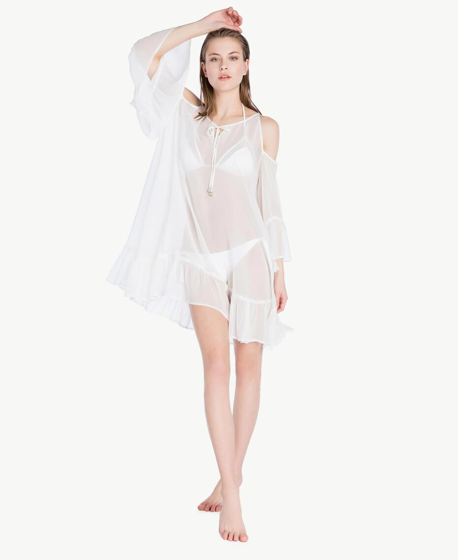 Flounced kaftan White Woman BS82DD-02