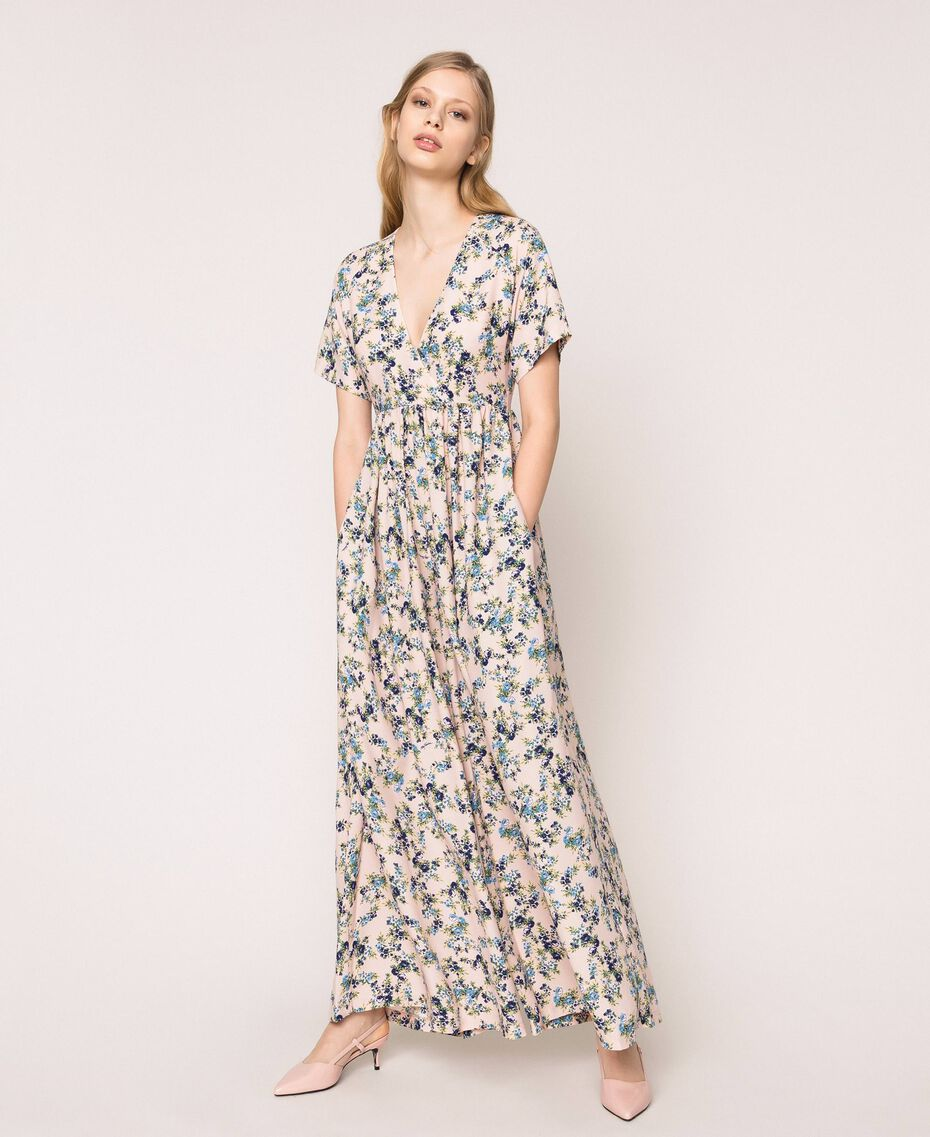 "Floral crêpe de Chine jumpsuit ""Quartz"" Pink Flowered Print Woman 201MP2372-02"