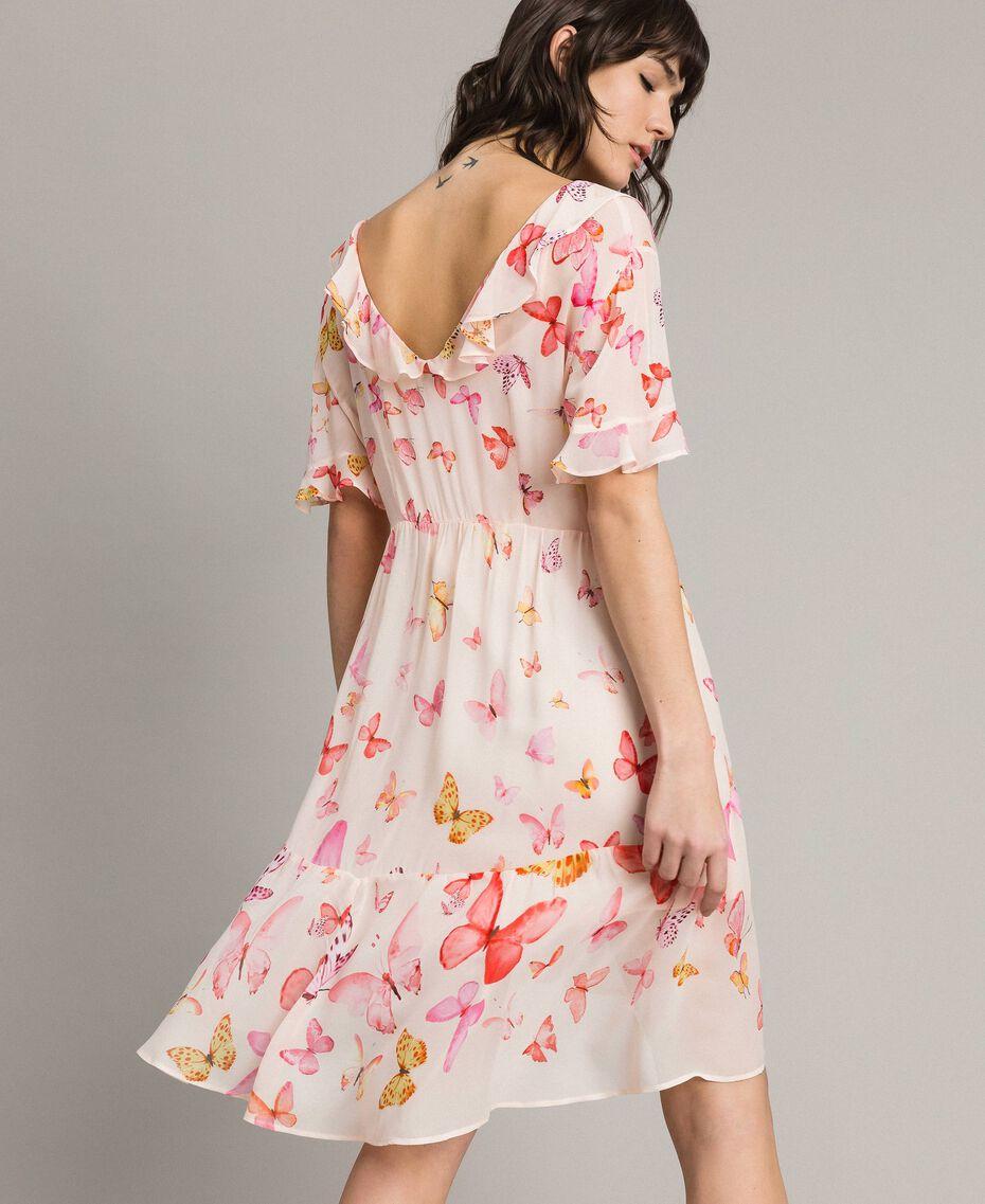 Georgette-Kleid mit Schmetterlings-Aufdruck Motiv Schmetterling Gemischt Pink Frau 191TT2394-03