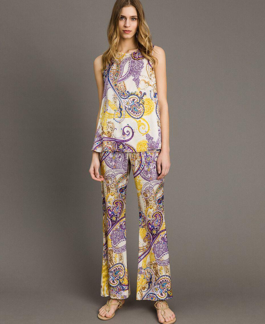 "Paisley print palazzo trousers ""Milkyway"" Beige / Paisley Print Woman 191LM2SAA-02"