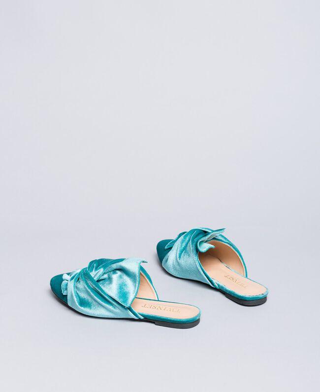 "Mules de terciopelo Azul ""Blue Melancholia"" Mujer LA8JFF-03"
