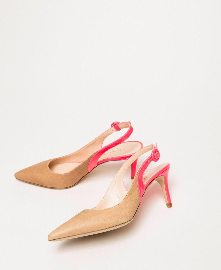 """Patent leather and leather slingback court shoes Two-tone """"Desert"""" Beige / Fluo Fuchsia Woman 201TCP010-03"""