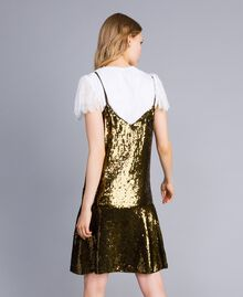 """Sequin dress """"Military"""" Green with Gold Sequins Woman TA82DD-03"""