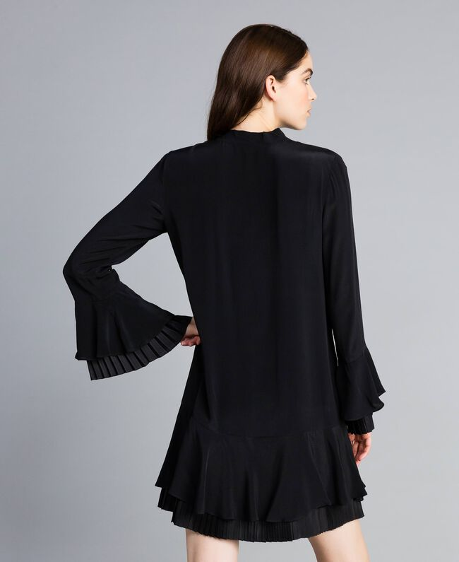 Robe courte en soie mélangée avec plissé Noir Femme TA823S-04