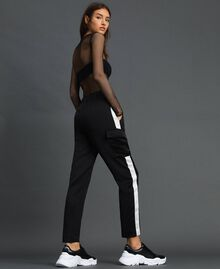 Cargo trousers with contrasting bands Two-tone Black / Lily Woman 192MP2354-03