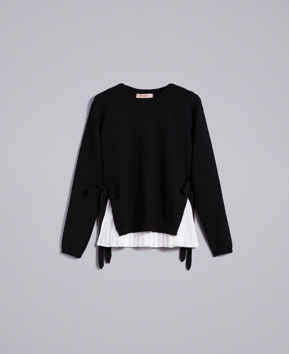 """Maglia in lana e cashmere con top plissé Bicolor Nero / Bianco """"Neve"""" Donna PA831C-0S"""