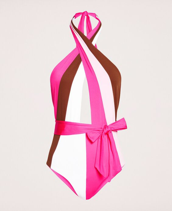 Colour block one-piece swimsuit with belt
