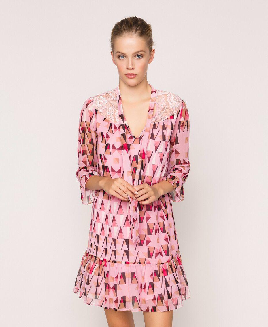 """Платье из набивного жоржета с кружевом Принт Геометрический Розовый """"Конфета"""" женщина 201ST2180-01"""