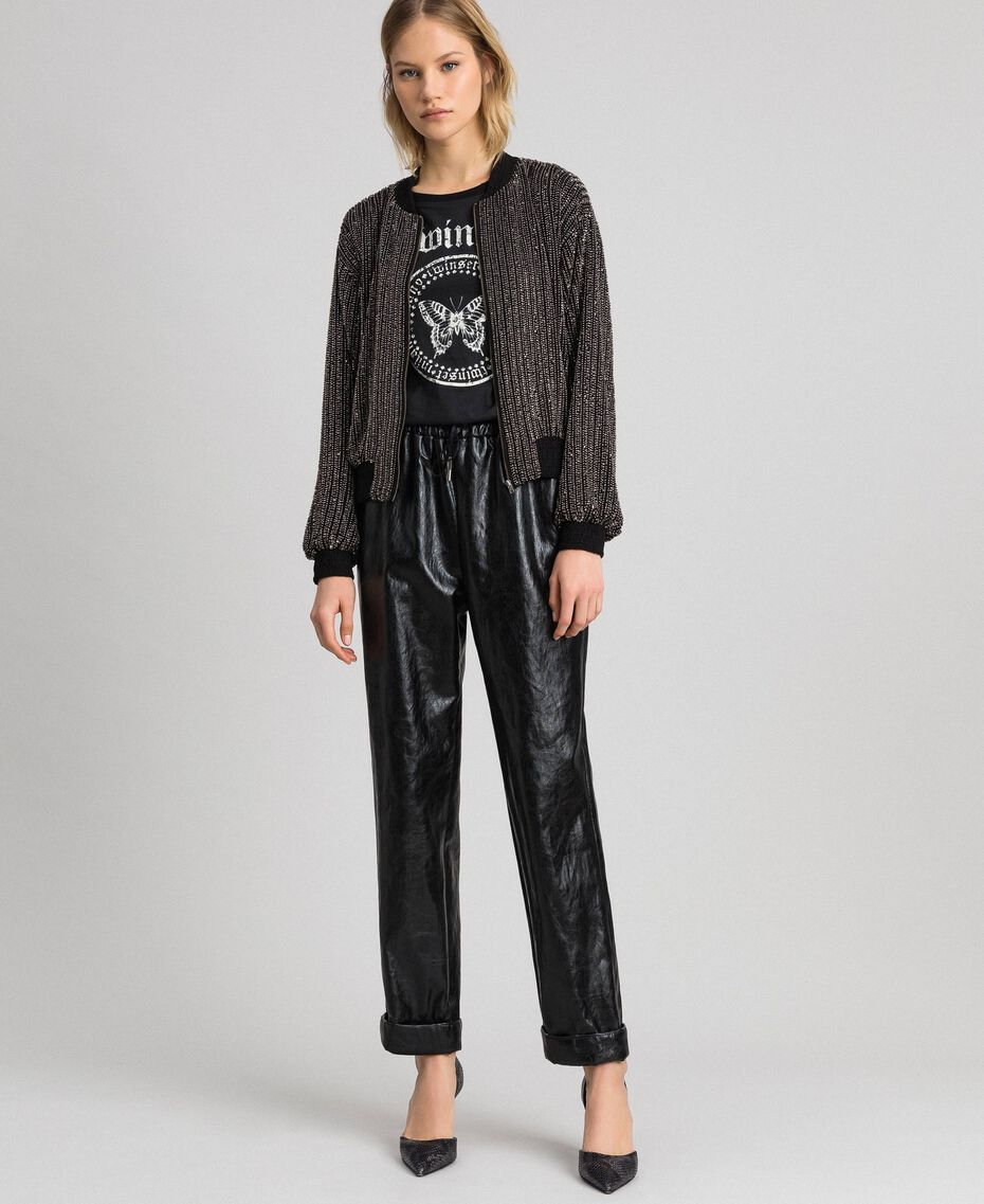 Bomber jacket with sequin embroidery Black Woman 192TP2462-0T