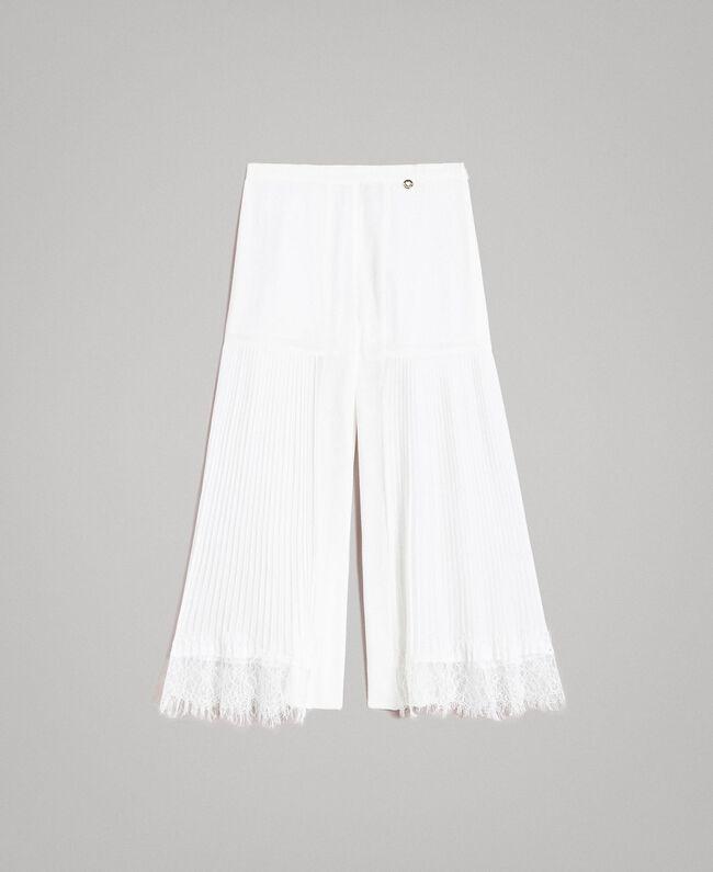 Pantalon en georgette plissée et dentelle Off White Enfant 191GJ2QA1-01