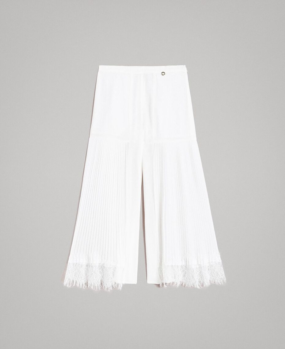 Pleated georgette and lace trousers Off White Child 191GJ2QA1-01