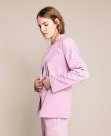 "Double breasted pin stripe blazer ""Candy"" Pink Pin Stripe Jacquard Woman 201ST2080-04"