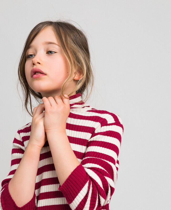 Ribbed mock turtleneck with stripes Ruby Wine Striped Jacquard / Oat Child 192GJ3170-01