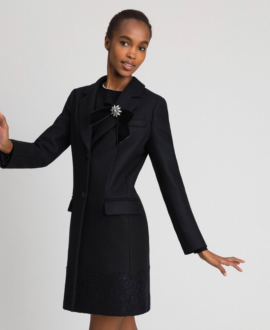 Wool cloth coat with lace Black Woman 192TP2314-02