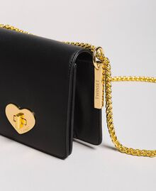 Small leather shoulder Bea bag Black with Gold Heart clasp Woman 191TA7142-01