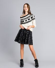 Faux leather skirt with roses Black Woman JA82DP-01