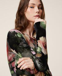 """Body in velluto stampato a fiori Stampa Fiori Nero / Rosa """"Peach Pearl"""" Donna 202TT2360-01"""