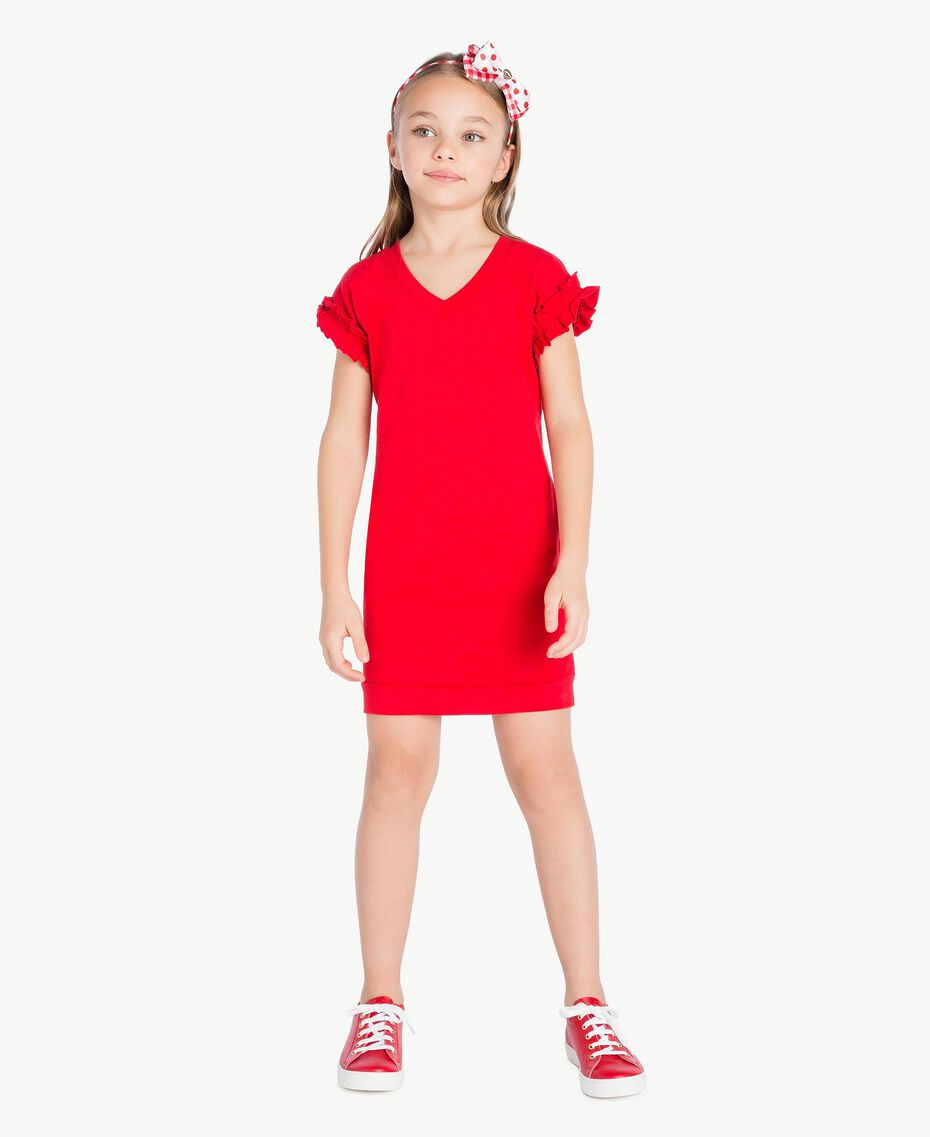Robe ruches Rouge Grenade Enfant GS82KP-02