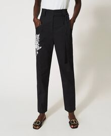 Pantalon en popeline avec broderie Noir Femme 211TT2473-05