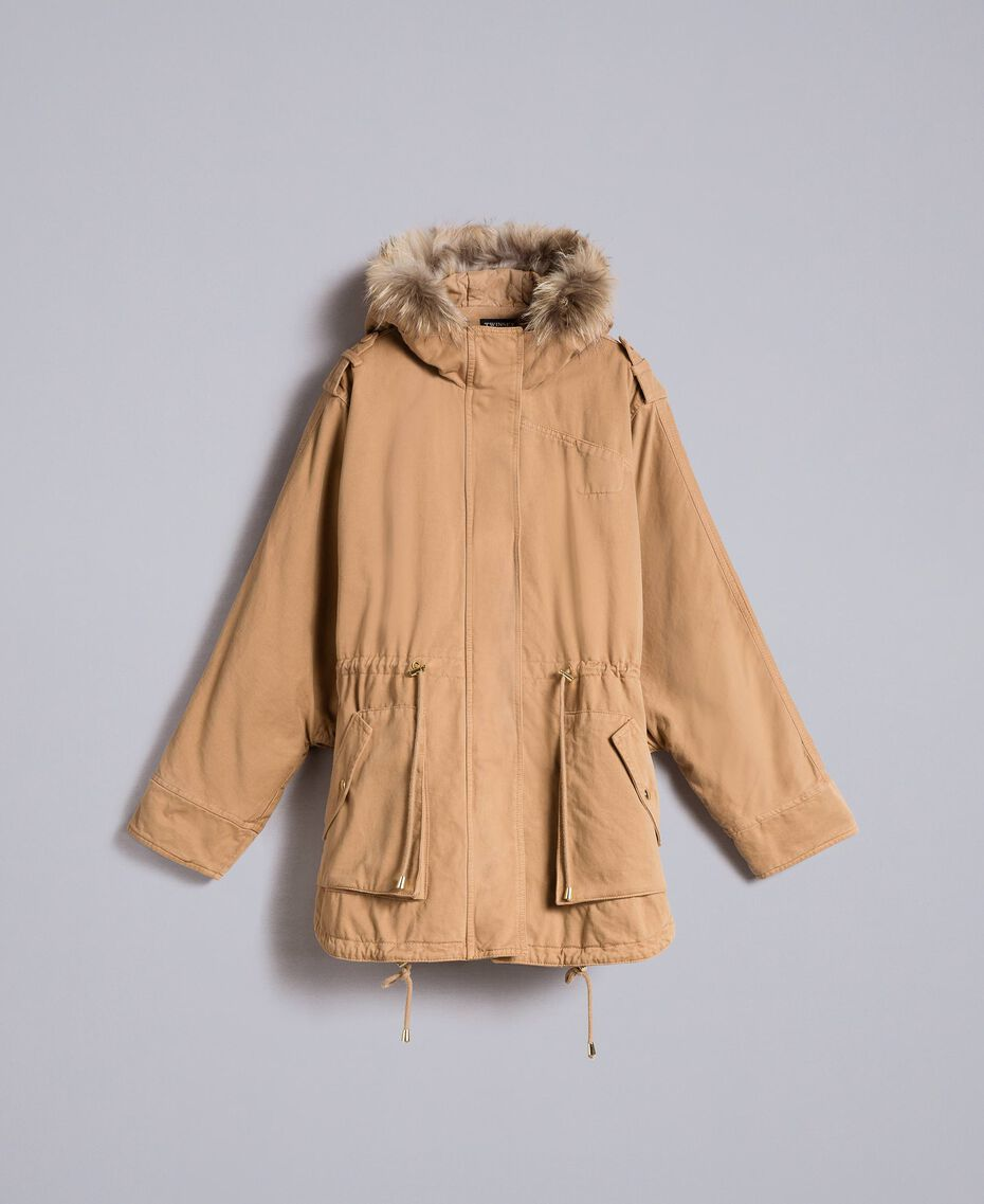 Cotton drill cape Camel Woman PA82L6-0S