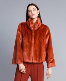 """Giacca corta in similpelliccia Rosso """"Redwood"""" Donna SA82BB-01"""