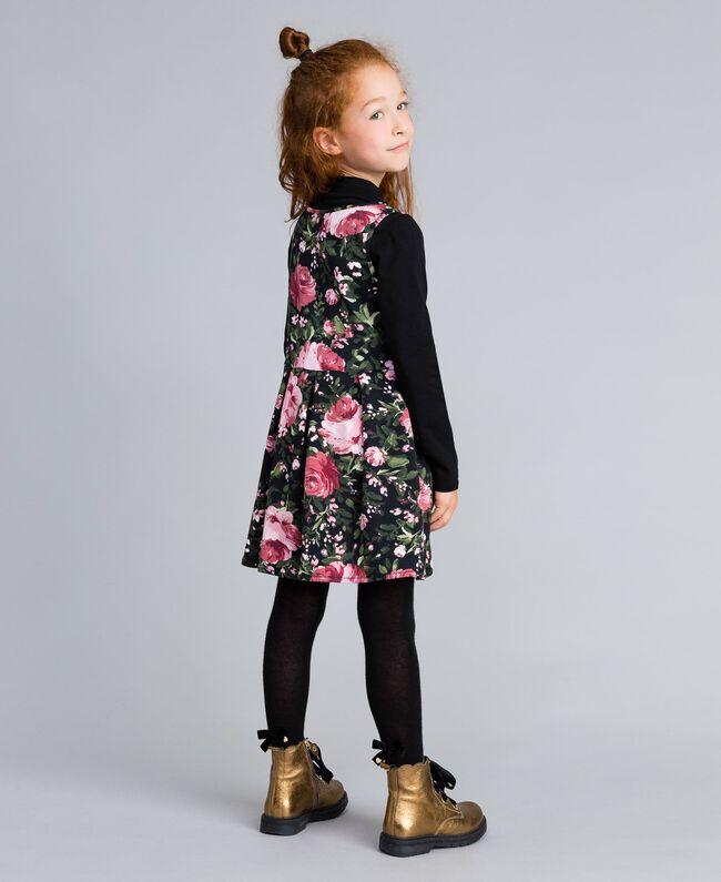 """Kleid aus bedrucktem Pikee mit T-Shirt Print """"Rosen"""" / Schwarz Kind GA82LC-03"""
