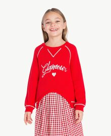 Pull broderie Bicolore Rouge Grenadier / Blanc Papyrus Enfant GS83FA-02
