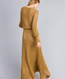 Mesh lurex long dress Gold Yellow Woman TA83EA-03
