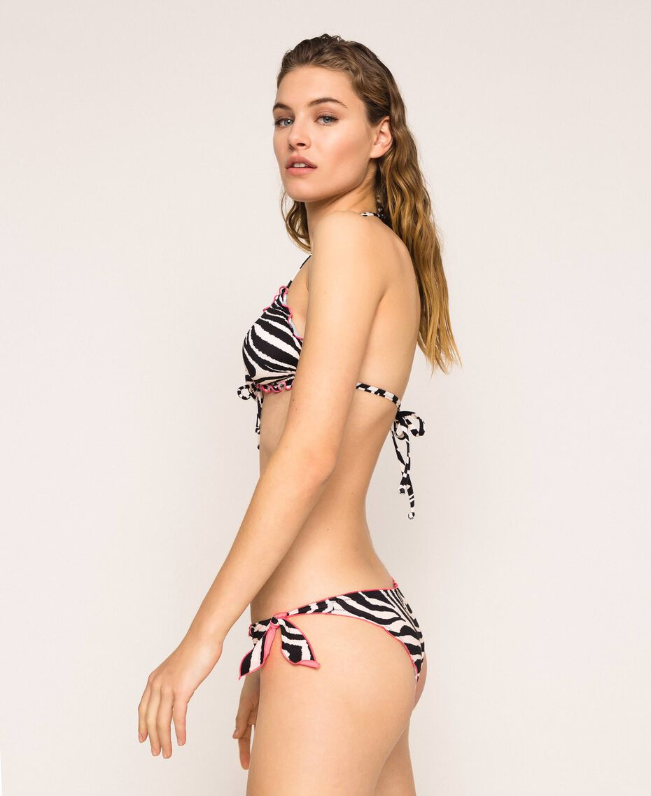 Printed thong bikini bottom with tie-up laces Black Zebra Print Woman 201LBMG88-03