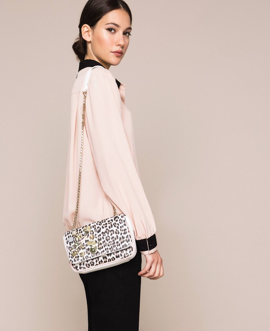 Faux leather shoulder bag with studs Black Woman 201MA7051-0S