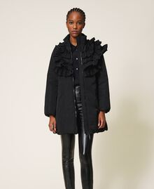 Taffeta puffer jacket with ruffles Black Woman 202ST2100-03