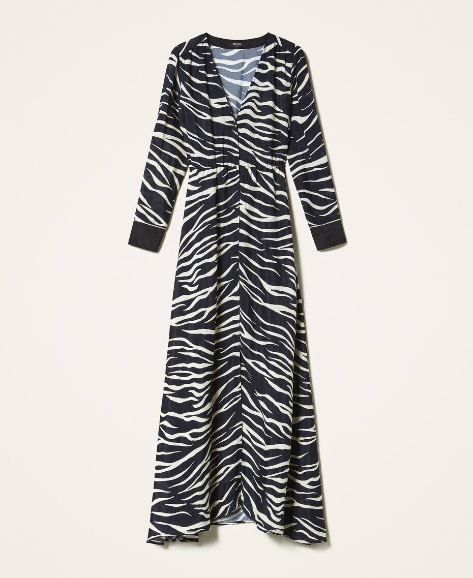 Animal print crêpe de Chine dress Black / Cream White Zebra Print Woman 202MP2430-0S