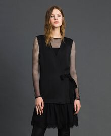 Bow dress with lace flounce Black Woman 192MP2351-01