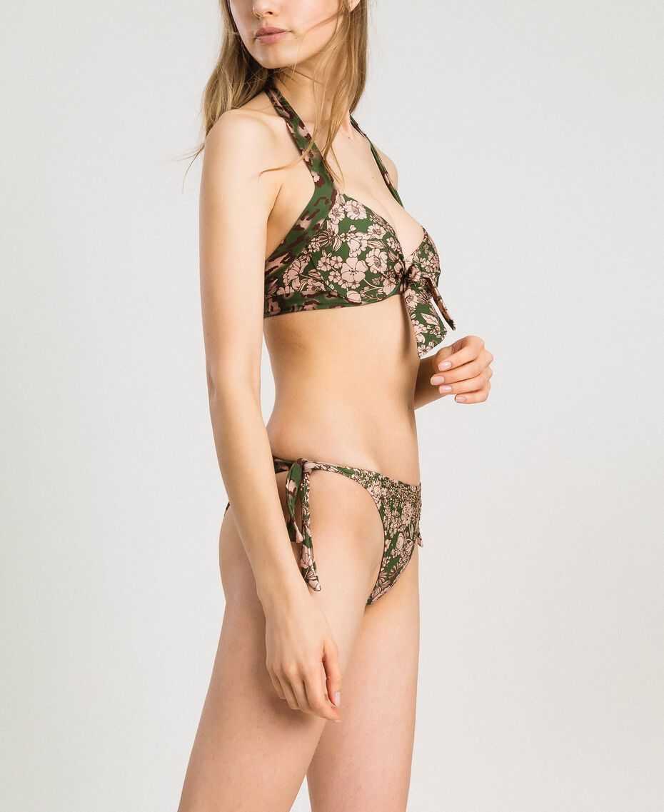 Floral print underwired bikini top Amazon Green Animal Print Woman 191LMMU55-02