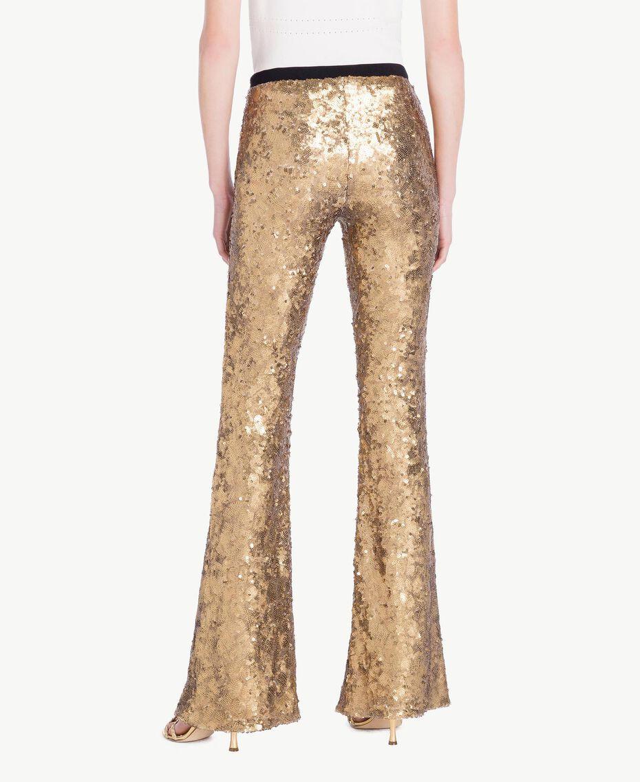 Hose mit Alloverpailletten Gold Gelb Frau TS82EQ-03