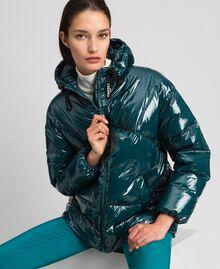 Doudoune courte matelassée en plumes véritables Vert Foncé Femme 192TP2500-01