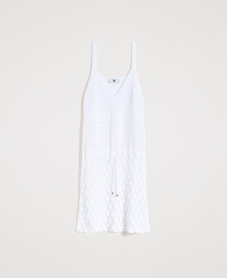 Baumwollkleid mit offenem Muster Weiß Frau 191LB3GCC-0S